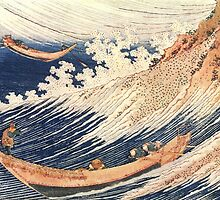 'A Wild Sea At Choshi' by Katsushika Hokusai (Reproduction) by Roz Abellera Art
