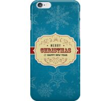 Vintage Label Christmas Card - Merry Christmas iPhone Case/Skin