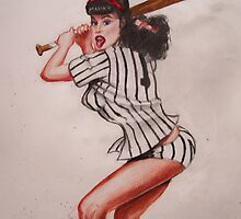 betty page baseball by dwick