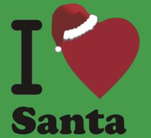 I Love Santa ( Black Text T-Shirt & Sticker) One Piece - Short Sleeve
