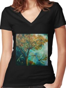 """Dragonfly Flirtation"" (Time is fleeting) Women's Fitted V-Neck T-Shirt"