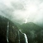 Waterfalls Milford Sound, New Zealand by Allison Lane