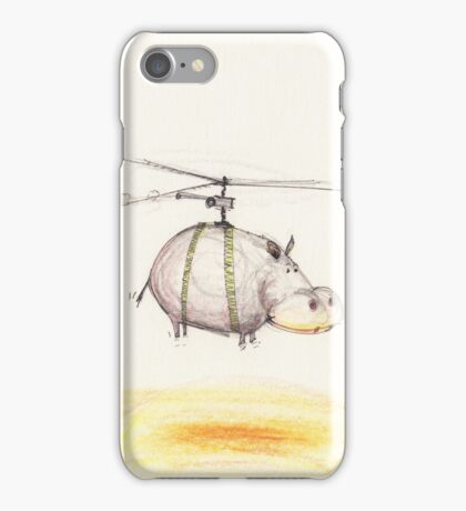 Mr Hippopotamus go for a helicopter ride iPhone Case/Skin