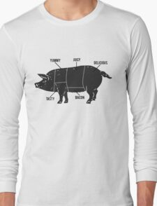 Funny Pig Butcher Chart Diagram Long Sleeve T-Shirt