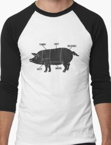 Funny Pig Butcher Chart Diagram Men's Baseball ¾ T-Shirt
