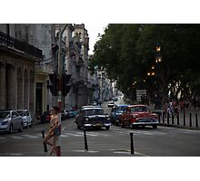 Classic cars on Avenue Di Marti (aka Prado), Havana Photographic Print