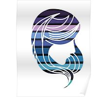 I Am Cool Blue Girl Hair Chalk Colors Poster