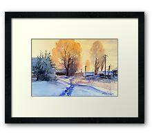 Winter light. Village. Russia Framed Print