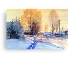 Winter light. Village. Russia Metal Print