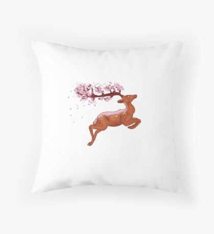 Deery Blossoms Throw Pillow