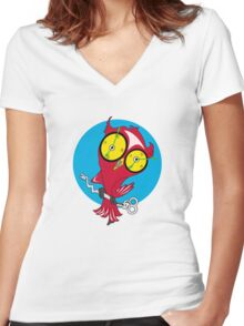 owl Women's Fitted V-Neck T-Shirt