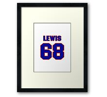 National football player Butch Lewis jersey 68 Framed Print