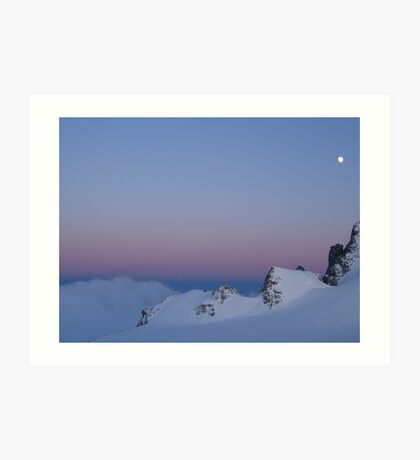 Moon over Mont Blanc Art Print