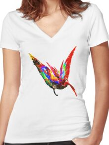 Fractal - Floating Butterfly Women's Fitted V-Neck T-Shirt