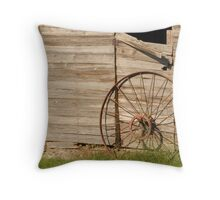 Barndoor with Wagon Wheel Throw Pillow