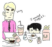 Attack on titan Erwin Smith & Levi Ackerman McDonald's by zinealism