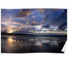 Sunset at Ahipara, Ninety Mile Beach, New Zealand Poster