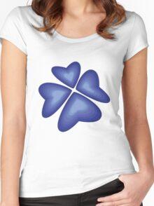 blue heart flower Women's Fitted Scoop T-Shirt