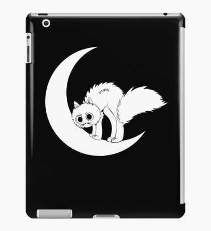 Cute cartoon kitten on crescent moon iPad Case/Skin