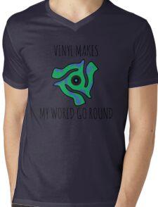 Vinyl Makes My World Go Round Mens V-Neck T-Shirt