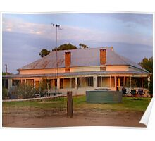 Early morning suns rays hitting Wilber Farmhouse Poster