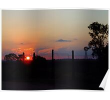 Wilber Farmhouse - Sunrise over the Warrumbungles Poster