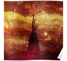 Lady Liberty red and yellow stars Poster