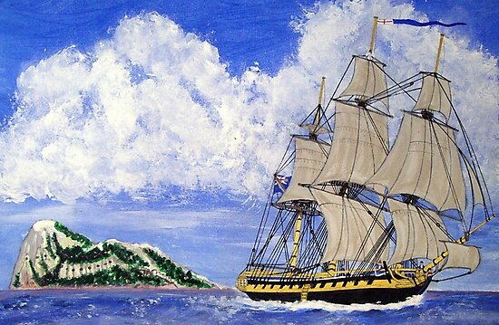My acrylic painting of HMS Boreas Leaving Gibraltar - Capt Horatio Nelson by Dennis Melling