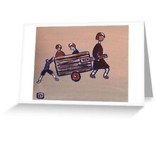 Children with a cart Greeting Card