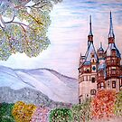 My coloured pencil drawing of Peles Castle, Prahova County, Romania by Dennis Melling