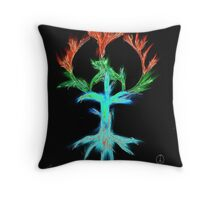 computer generated version of peace tree Throw Pillow