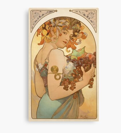'Fruit' by Alphonse Mucha (Reproduction) Canvas Print
