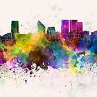 The Hague skyline in watercolor background by paulrommer