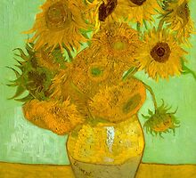 'Twelve Sunflowers' by Vincent Van Gogh (Reproduction) by Roz Abellera Art Gallery