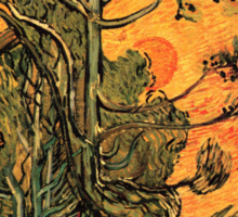 'Pine Trees Against A Red Sky with a Setting Sun' by Vincent Van Gogh (Reproduction) Sticker
