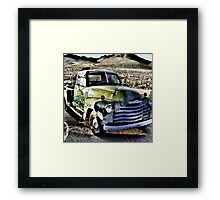 old green truck, route 66, cool springs, arizona Framed Print