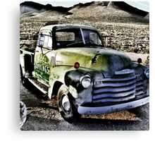 old green truck, route 66, cool springs, arizona Canvas Print