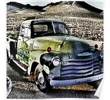 old green truck, route 66, cool springs, arizona Poster