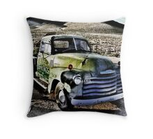 old green truck, route 66, cool springs, arizona Throw Pillow