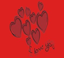 I Love You Greeting Card With Hearts Kids Clothes