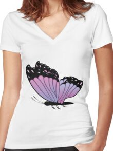 Colorful Butterfly 2 Women's Fitted V-Neck T-Shirt