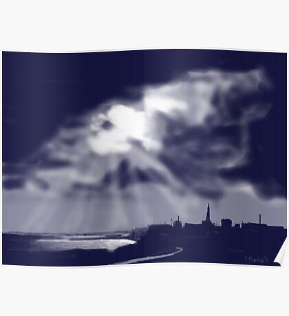 """""""Storm over Bridlington Bay"""" Poster"""
