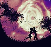 Couple silhouette and rose in the sky by AnnArtshock