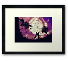 Couple silhouette and rose in the sky Framed Print