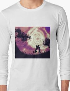 Couple silhouette and rose in the sky Long Sleeve T-Shirt