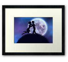 Couple silhouette in the night Framed Print