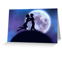 Couple silhouette in the night Greeting Card