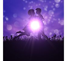 Couple silhouette on grass field Photographic Print