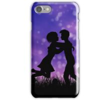 Couple silhouette on grass field 2 iPhone Case/Skin