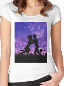 Couple silhouette on grass field 2 Women's Fitted Scoop T-Shirt